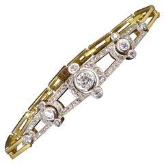 Vintage Diamond Bracelet, 1.76 Carat, Early 1900's Era