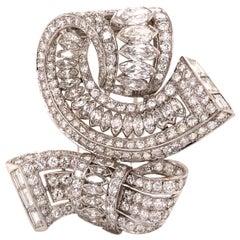 Vintage Diamond Brooch Platinum 15.00 Carat
