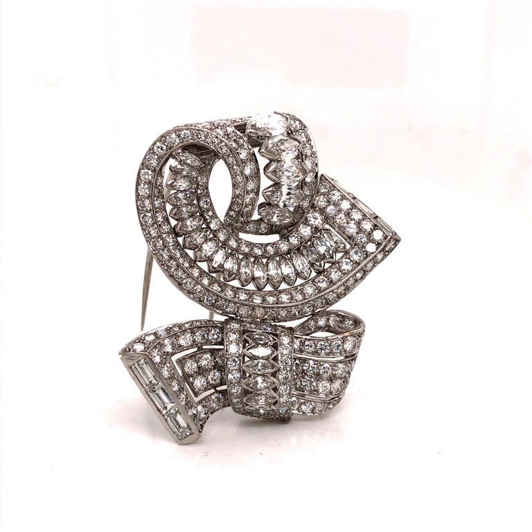 Women's or Men's Vintage Diamond Brooch Platinum 15.00 Carat For Sale