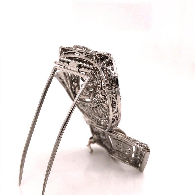 Vintage Diamond Brooch Platinum 15.00 Carat For Sale 1