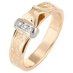 Vintage Diamond Buckle Ring 18 Karat Yellow Gold Pinky Band Estate Jewelry
