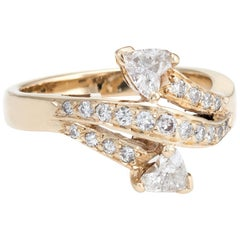 Vintage Diamond Bypass Ring Hearts 14 Karat Yellow Gold Estate Fine Jewelry