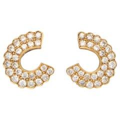 Vintage Diamond 'C' Half Hoop Earrings Set in 18k Yellow Gold