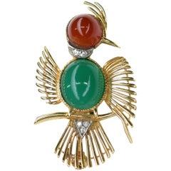 Vintage Diamond Carnelian and Chalcedony 18 Karat Bird Brooch