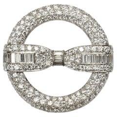 Vintage Diamond Circle and Bow Brooch, 6.50ct