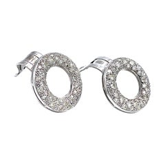 Vintage Diamond Circles 18 Karat White Gold Clip on Earrings