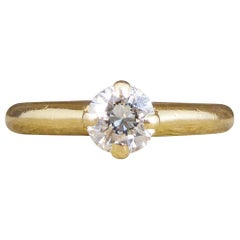Vintage Diamond Claw Set Solitaire Engagement Ring in 18 Carat Yellow Gold