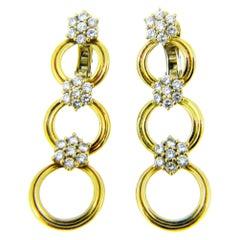 Vintage Diamond Cluster Dangle Drop Yellow Gold Earrings