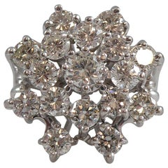 Vintage Diamond Cluster Ring, 2.65 Carat Brilliant Cut Diamonds, White Gold