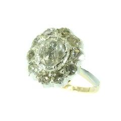 Vintage Diamond Cluster Ring with Big Rose Cut Diamonds