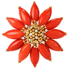 Vintage Diamond Coral 18 Karat Poinsettia Brooch Pin