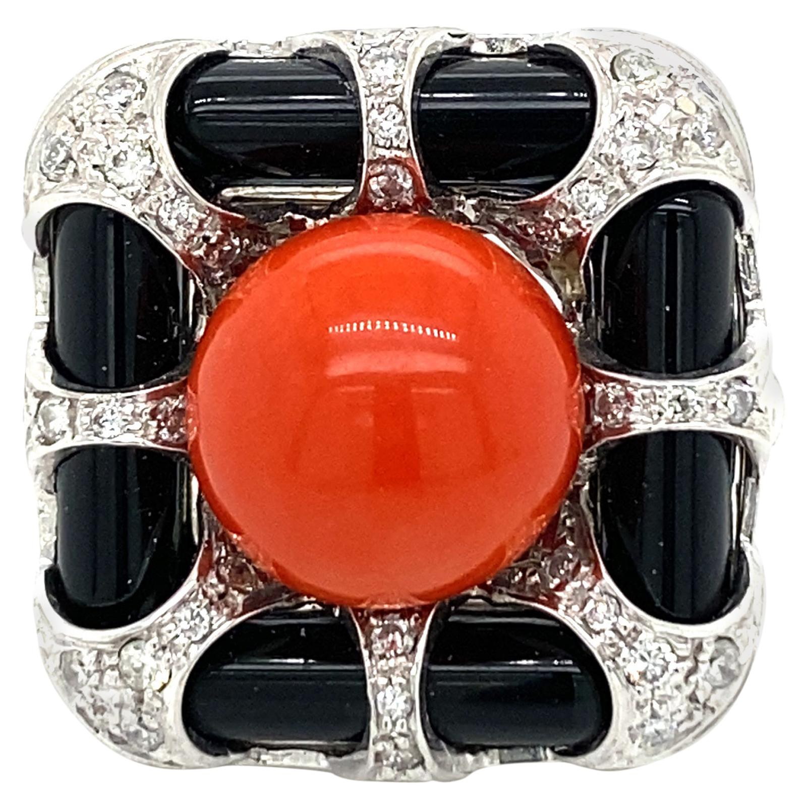 Vintage Diamond Coral Onyx Cocktail Ring