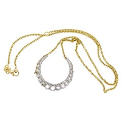 Vintage Diamond Crescent Pendant Necklace