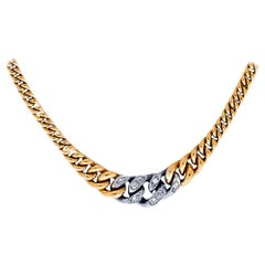 Vintage Diamond Cuban Link 18 Karat Italian Necklace