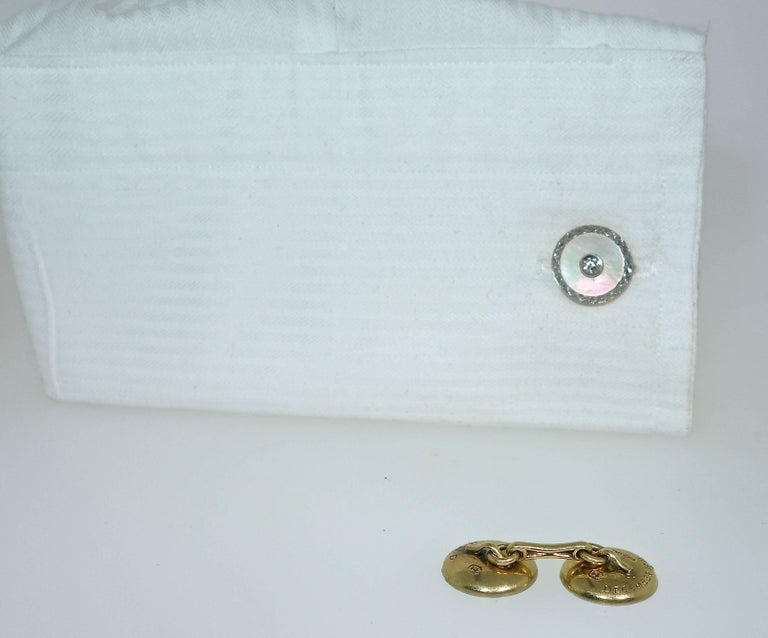 Old European Cut Vintage Diamond Cufflinks with Mother of Pearl in Platinum, circa 1925 For Sale