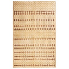 Vintage Diamond Design Geometric Beige Wool Rug