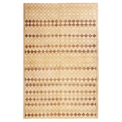Vintage Diamond Design Geometric Beige Wool Rug