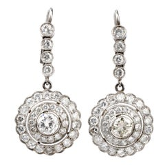 Vintage Diamond Double Halo Platinum Dangle Earrings