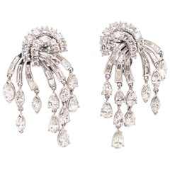 HARBOR D. Vintage Diamond Drop Tassel Earrings 12.50 Carat Platinum