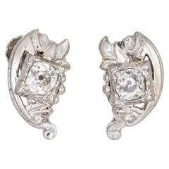 Vintage Diamond Earrings 10 Karat Gold Old Mine Cut Estate Jewelry Screw Back