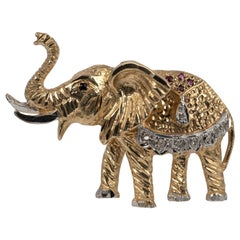 Vintage Diamond Elephant Brooch With Rubies and Sapphire circa 1980s Full UK HM