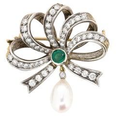 Vintage Diamond, Emerald and Pearl Bow Brooch, circa 1940s