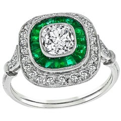 Vintage Diamond Emerald Halo Engagement Ring