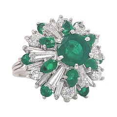 Vintage Diamond Emerald Platinum Cocktail Ring