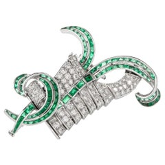 Vintage Diamond Emerald Swirl Platinum Pin Brooch
