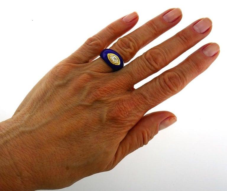 Marquise Cut Vintage Diamond Enamel 18k Gold Evil Eye Ring Signed GB For Sale