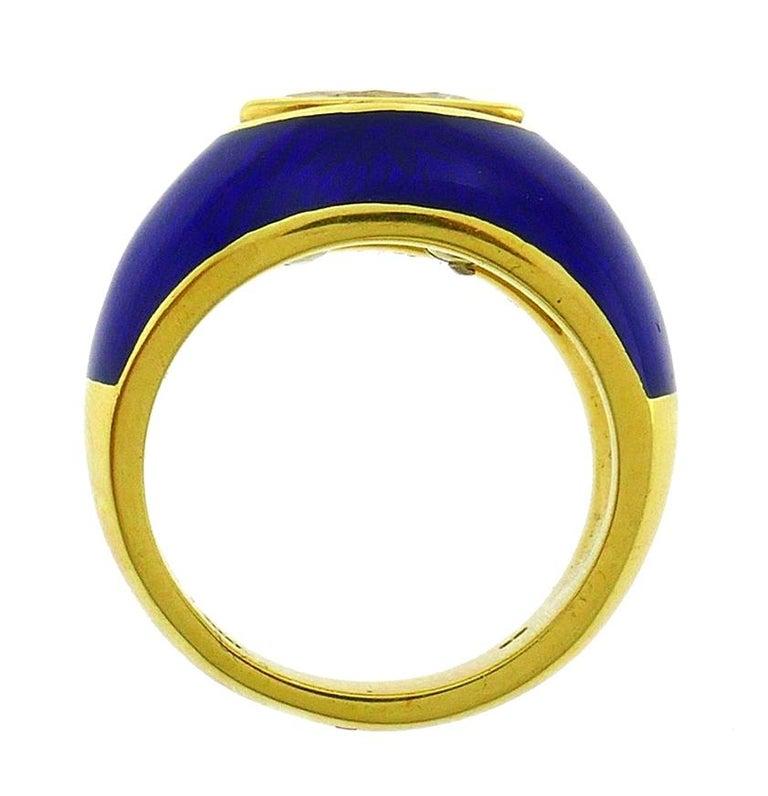 Vintage Diamond Enamel 18k Gold Evil Eye Ring Signed GB For Sale 3