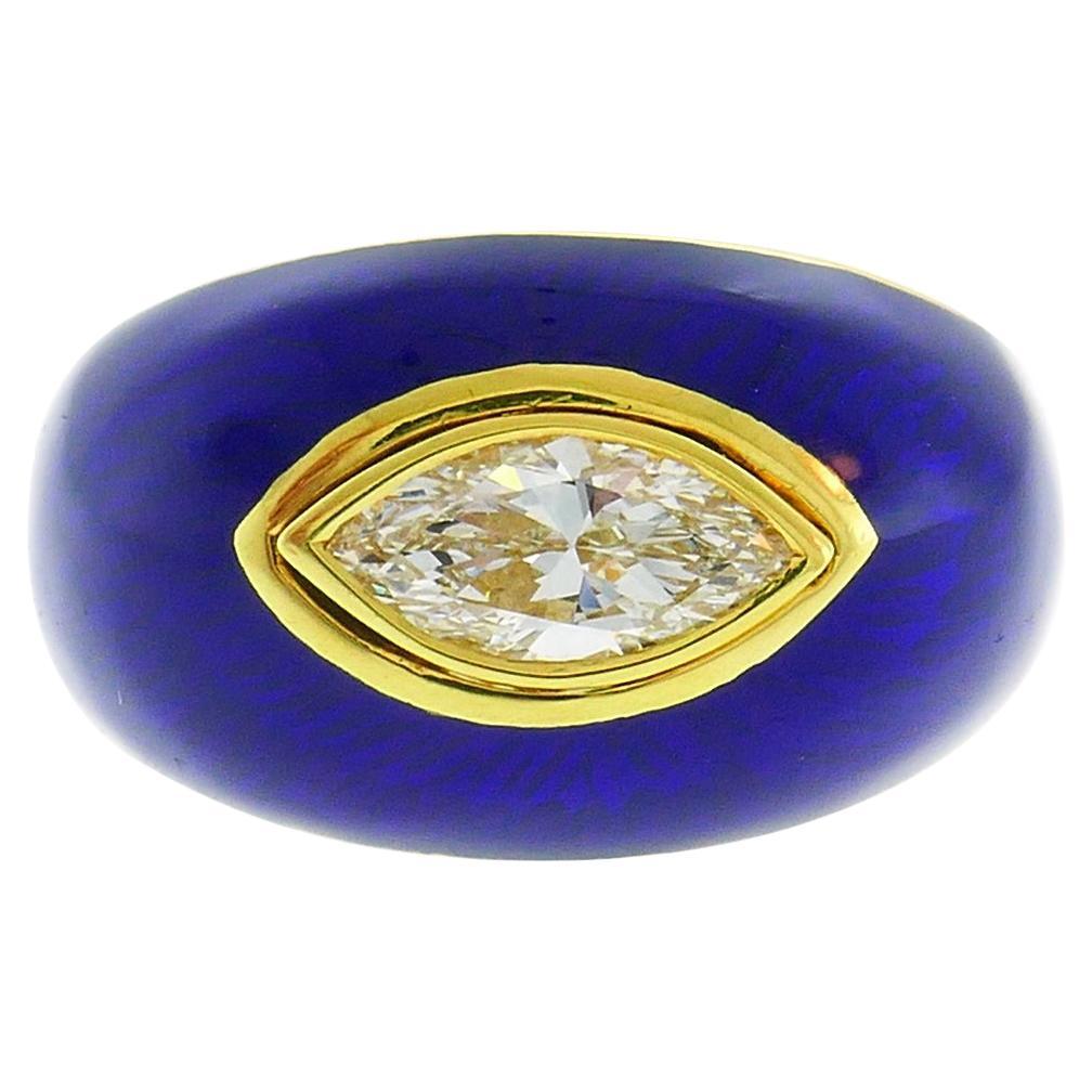 Vintage Diamond Enamel 18k Gold Evil Eye Ring Signed GB