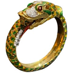 Vintage Diamond Enamel Serpent Snake Bangle Bracelet Yellow Gold, Portugal 1970s