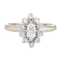 Vintage Diamond Engagement Ring Marquise Princess 14 Karat White Gold Jewelry