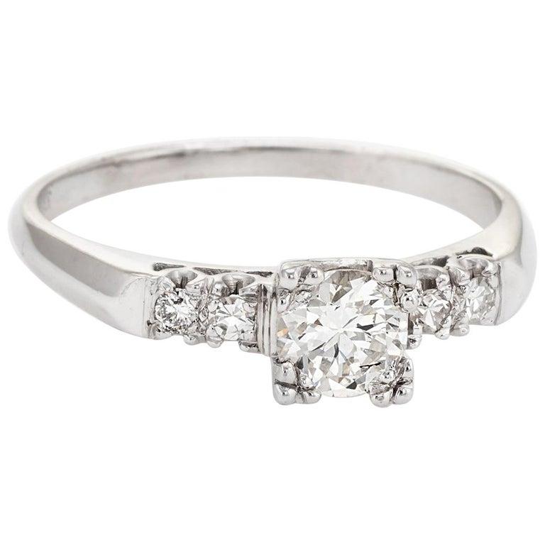 Platinum Engagement Rings Sale Uk: Vintage Diamond Engagement Ring Platinum Old European Cut