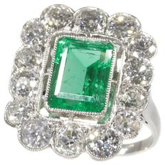 Vintage Diamond Engagement Ring with Certified Untreated Natural Emerald