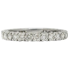 Vintage Diamond Eternity Band 1 Carat Stacking Ring White Gold Wedding