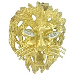 Vintage Diamond Eye'd Lion Brooch/Pin and Pendant in 18 Karat Yellow Gold