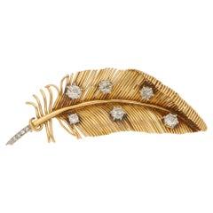 Vintage Diamond Feather Brooch Set in 18 Karat Yellow Gold