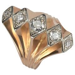 Vintage Diamond Five Row Fan Ring Gold, Circa 1940