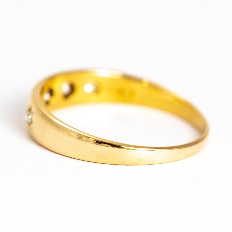 Modern Vintage Diamond Five-Stone 18 Carat Gold Band For Sale