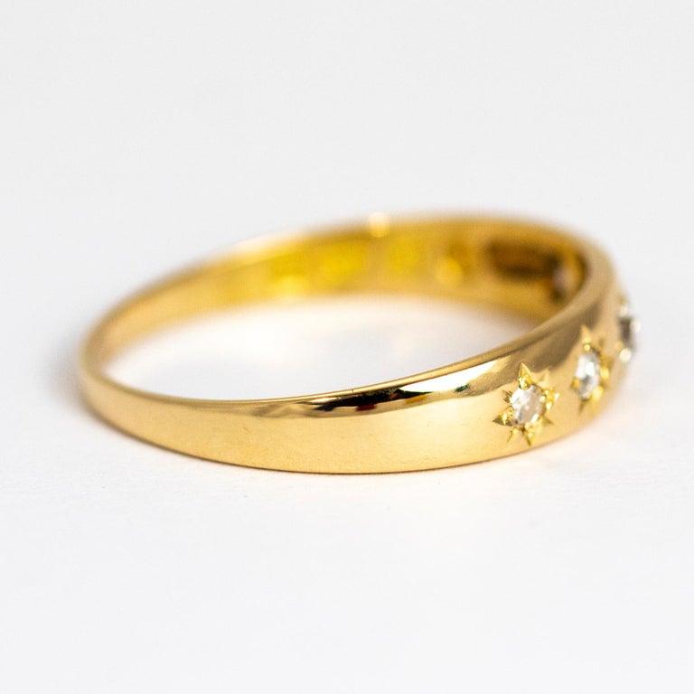 Women's or Men's Vintage Diamond Five-Stone 18 Carat Gold Band For Sale
