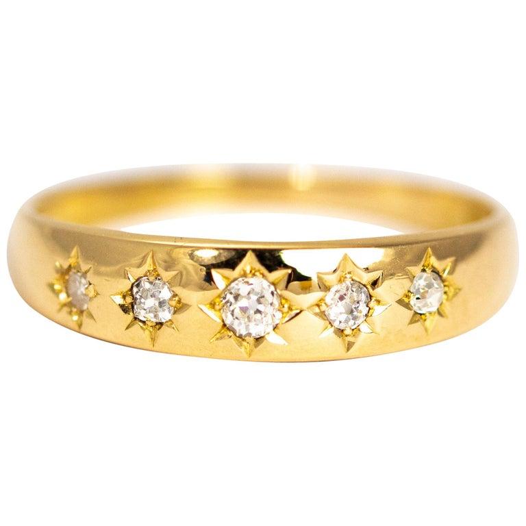 Vintage Diamond Five-Stone 18 Carat Gold Band For Sale
