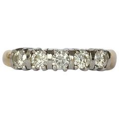 Vintage Diamond Five-Stone 18 Carat Gold Ring