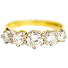 Vintage Diamond Five-Stone 18 Carat Gold Ring