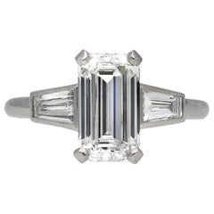Vintage Diamond Flanked Solitaire Ring, circa 1950