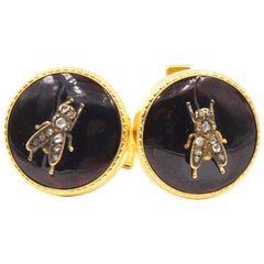 Vintage Diamond Flies 14 Karat Yellow Gold Cuff Links