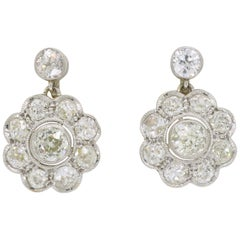 Vintage Diamond Floral Earrings in Platinum and Yellow Gold