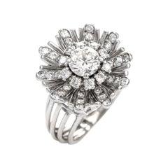 Vintage Diamond Floral Motif Platinum 18 Karat Cocktail Engagement Ring