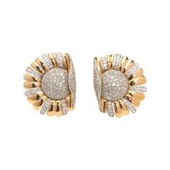Vintage Diamond Flowerburst Earrings, 3.00ct, Circa 1950